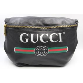 b27800053dbc4 Bolsa Con Cinturón Gucci Piel Negra Correa De Tela