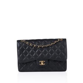 ffb860e2989fd Bolsa Chanel Preta Double Flap Média Em Couro Caviar - Bolsas ...