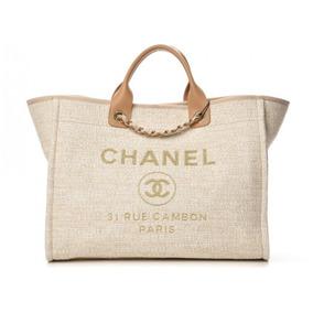 1d7e0e445 Bolsa Chanel Deauville Canvas Tote Pronta Entrega