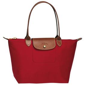 ff947f6d1b831 Nueva Original Bolsa Longchamp Le Pliage M Asa Larga Roja