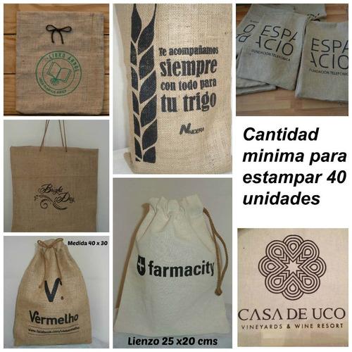 bolsas arpillera eventos / souvenir. pack x 10 unid. 25 x 20