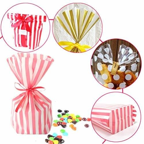b320fe572 Bolsas Celofán Papel Regalo Pink Striped Candy Bags 100 - $ 17.288 ...