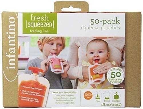 bolsas compota infantino squeeze pouches, 50 unds