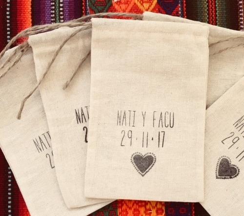 bolsas de lienzo para arroz casamientos (10u. x paquete)