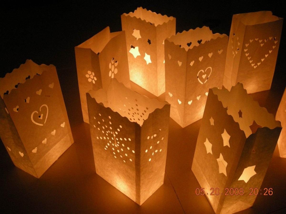 Bolsas de luz decoracion matrimonio cumplea os c vela - Bolsas de papel para velas ...