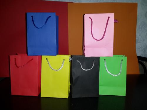 bolsas de papel 12x15x6.5 varios colores pack x 10