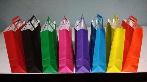 bolsas de papel color con manija (41x30x12) x 100 unidades