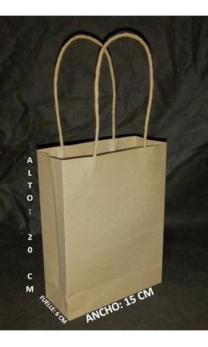 bolsas de papel kraft 120 gr manija trenzada, tam: 20x15x6