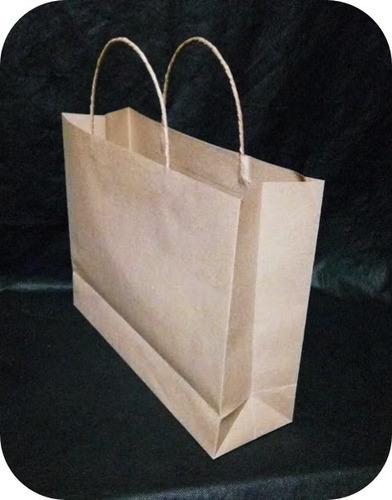 bolsas de papel kraft 120 gr. manija trenzada, tam: 28x38x11