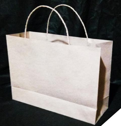 bolsas de papel kraft 90 gr manija trenzada, tam: 25x32x11