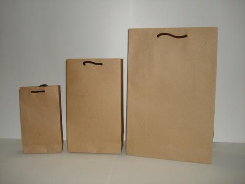 bolsas de papel kraft gruesas tipo boutique con cordon negro