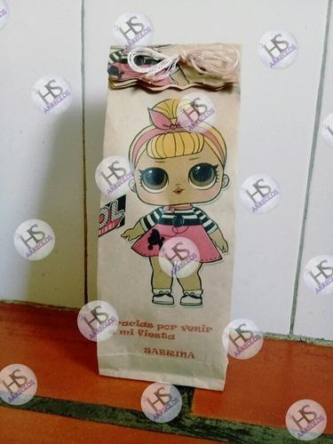bolsas de papel kraft para cotillon impresas personalizadas