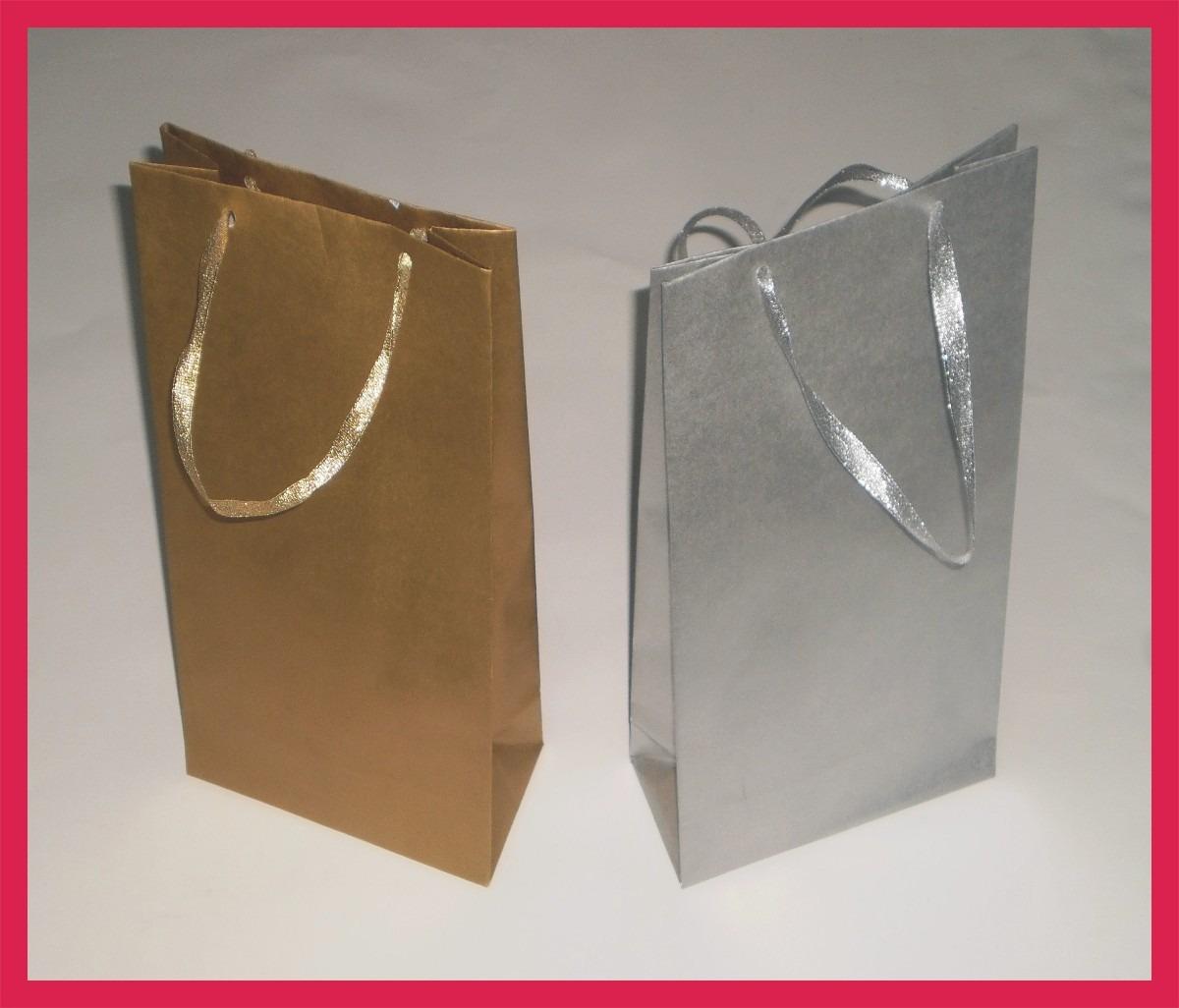 Bolsas de papel para regalo doradas y plateadas lindas - Bolsa de papel para regalo ...