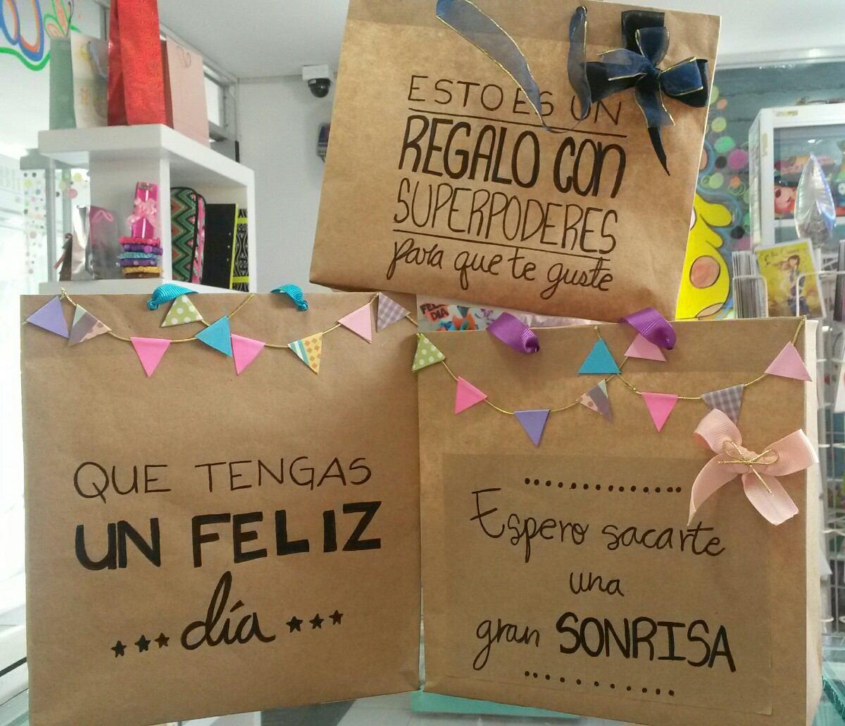 Bolsas de regalo papel kraft frases hechas a mano bs - Cosas hechas a mano para vender ...