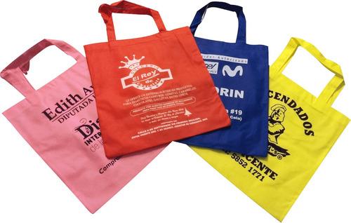 bolsas ecologicas 30x35 tipo morral, publicidad mandado.