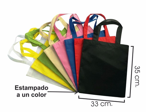 bolsas ecologicas 35x33 tipo morral, publicidad mandado.