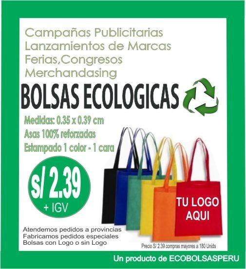 091195ef0 Bolsas Ecologicas Publicitarias Listas Para Estampar - S/ 1,55 en ...
