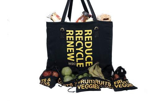 bolsas ecológicas tela para supermercado reutilizable negro
