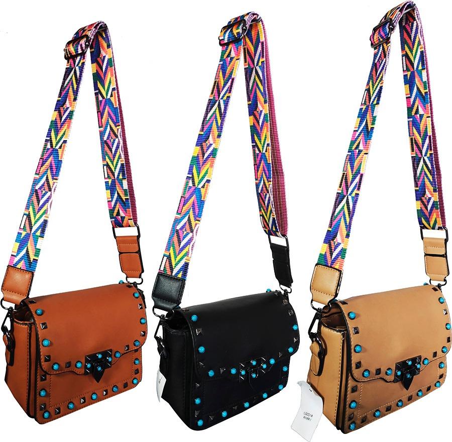 61421b02f Bolsas Femininas Alca Colorida Spike Moda Transversal - R$ 118,49 em ...