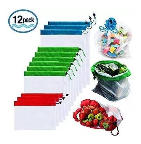 bolsas frutas y verduras ecologica reuzable paquete 12 pieza