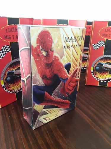 bolsas golosinera spiderman, hombre araña,dc superhero girls