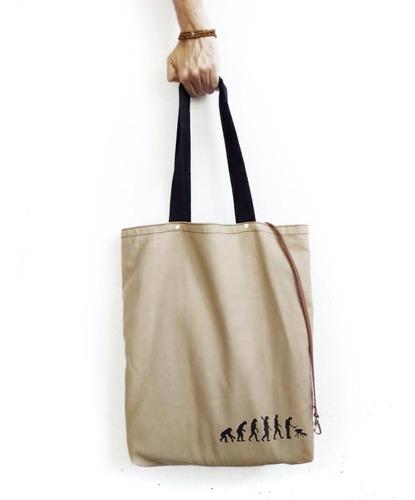 bolsas grandes totebag tela con cuero genuino estampa asador