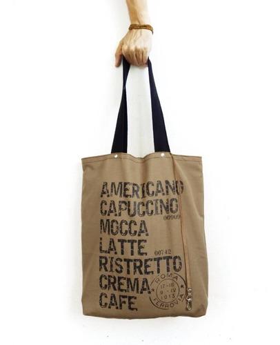 bolsas grandes totebag tela con cuero genuino estampa café