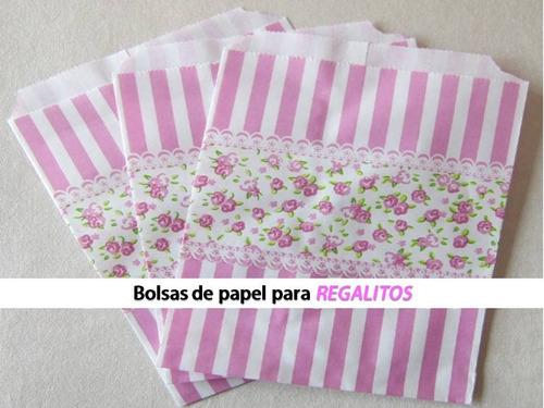 bolsas kraf rayas y flores