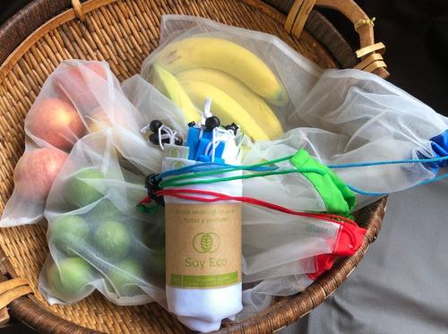 bolsas malla (9un) reutilizables para compra fruver/granel