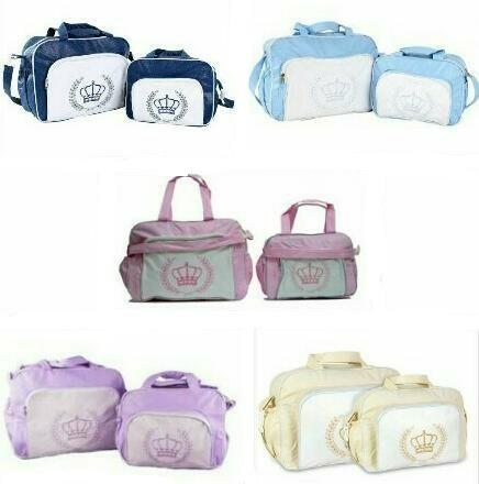 15b8542a2 Kit 2 Bolsas Maternidade Bebê M Baby Coroa Lisa Cores Só Hoj - R$ 48,90 em  Mercado Livre