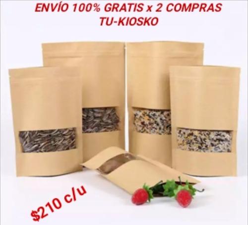 bolsas papel kraft ziploc (20x30x5 cm) pack 40 unidades