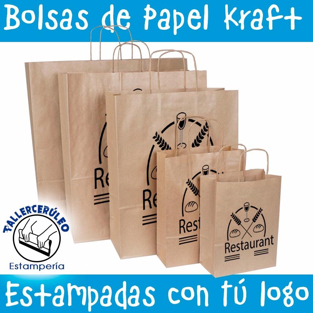 dc58b4806 Bolsas Papel Personallizada 20x32 Logo Publicidad Marca Impr ...