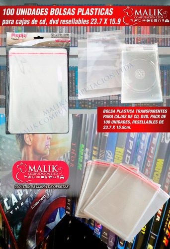 bolsas para dvd cajas de 14mm pack 100 unidades resellable