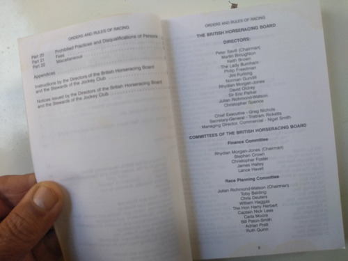 bolsilivro s/ cavalo - 2003 - the orders and rules of racing