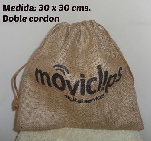 bolsitas  arpillera souvenir doble cordon  10 unidades