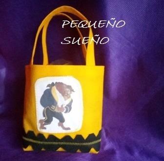 d67f76200 Bolsitas Cumpleaños Personajes Tela Princesa Bella Y Bestia - $ 25 ...