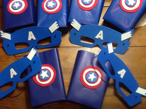 bolsitas súper héroes + antifaces artesanales pack 10 unid