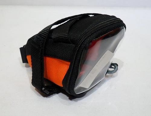 bolso bajo asiento p/ camara porta celular bicicleta