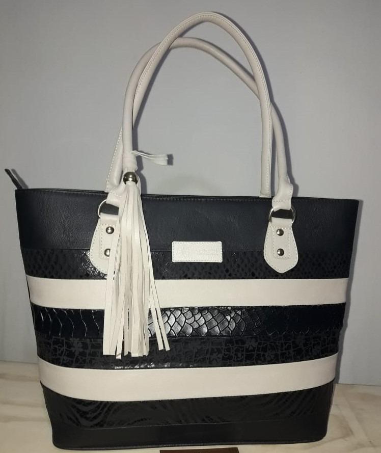 97a74c973da Bolso Blanco Y Negro 100% Cuero -   290.000 en Mercado Libre