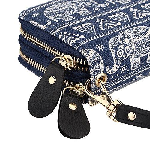 bolso bohemio con diseno de elefante y monedero con monedero