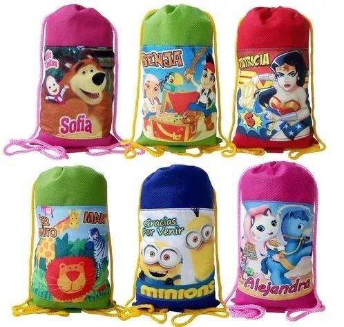 bolso bolsa cotillones infantiles personalizados 20x25cms