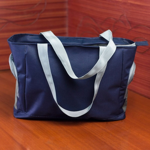bolso / cartera deportiva azul y gris para dama. pañalera