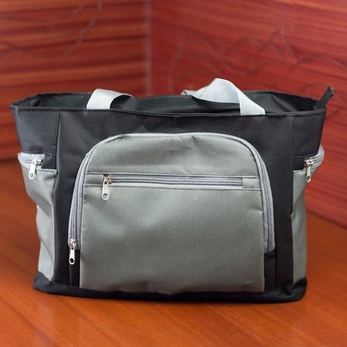 bolso / cartera deportiva negro y gris para dama. pañalera