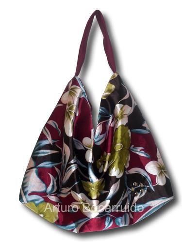 bolso cartera grande semicuero elegante forro tela estampada