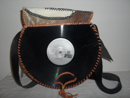 bolso cartera hipster cuero disco vinilo acetato vintage