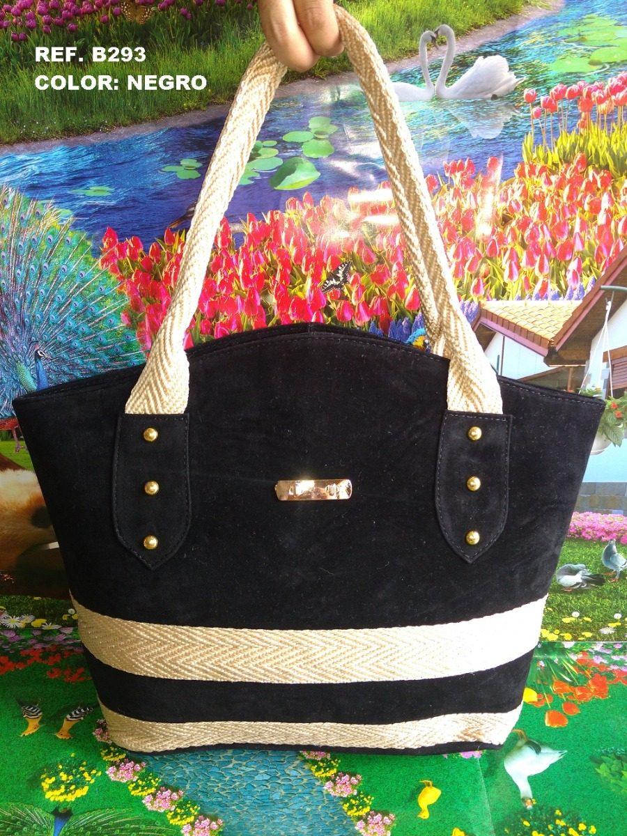 6b47096af10 Bolso Cartera Negra Elegante Amplia Combinada Yute Moda Dama -   65.005 en  Mercado Libre