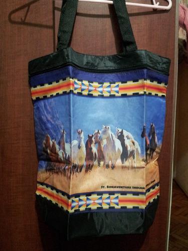 bolso con imágen de caballos para compras o estudiantes.