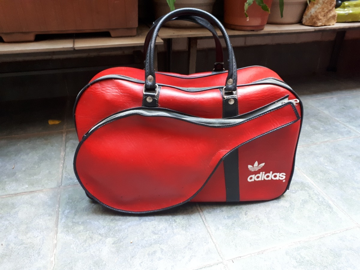 Bolso Cuero adidas Original Retro Rojo Raqueta Tenis Paddle