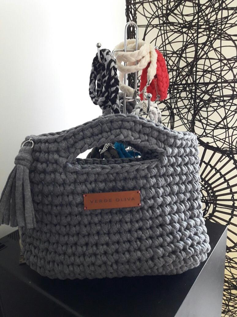Bolso De Mano Diseño Tejido Crochet Trapillo - $ 750,00 en Mercado Libre
