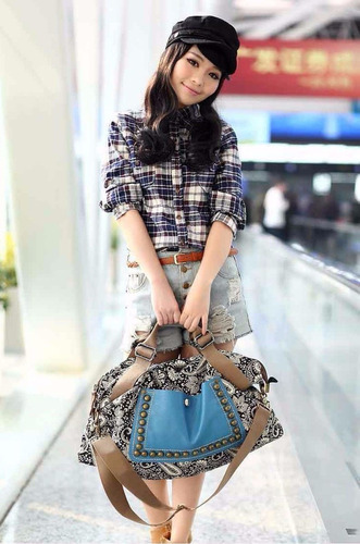 bolso diseño chino azul